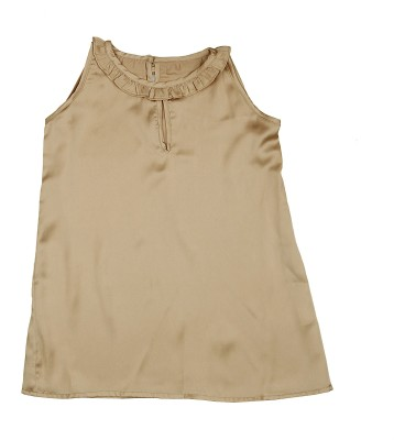 KARYN Casual Sleeveless Solid Girl's Brown Top