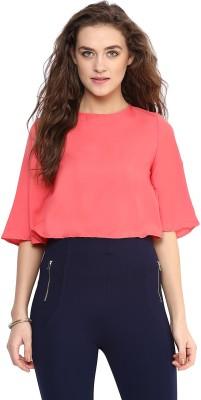 Uptownie Lite Casual 3/4 Sleeve Solid Women's Orange Top