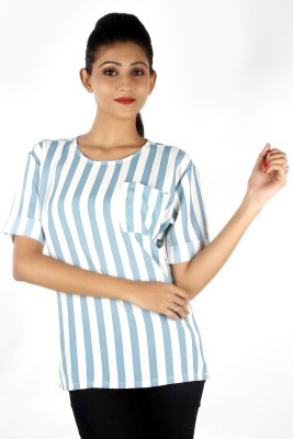Zolake Casual Short Sleeve Striped Women's Blue, White Top