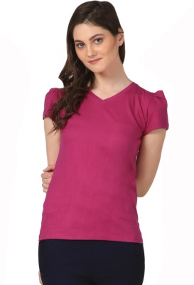 FashionExpo Casual Puff Sleeve Solid Women's Purple Top