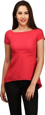 LA ATTIRE Casual Short Sleeve Solid Women's Pink Top