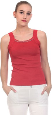 Claude 9 Casual Sleeveless Embellished Women's Red Top