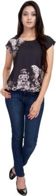 LA VERVE Casual Short Sleeve Printed Women's Black Top