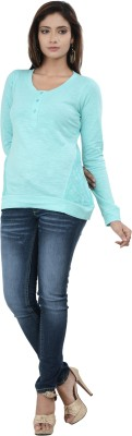 No Code Party Full Sleeve Solid Women's Blue Top