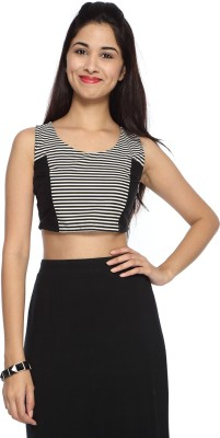 Francisca & Dominique Lounge Wear Sleeveless Striped Women's Black Top