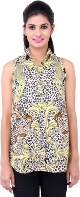 Zachi Casual Sleeveless Animal Print Women's Yellow Top