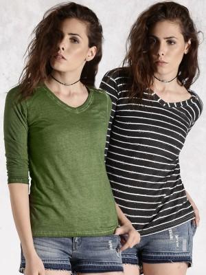 Roadster Casual 3/4 Sleeve Striped Women's Dark Green Top