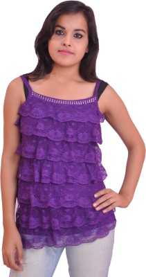 Krazzy Collection Casual Sleeveless Self Design Women's Purple Top