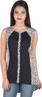 IndiFrench Moda Casual Sleeveless Self Design Women's Black, White Top