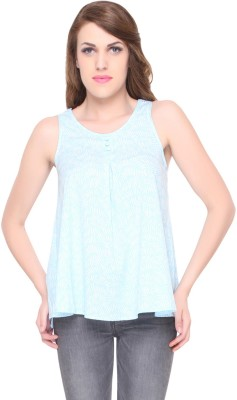 Lemon Chillo Casual Sleeveless Printed Women's Blue Top