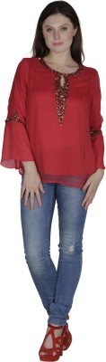 Heart Made Casual Full Sleeve Embellished Women's Red Top