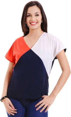 MSMB Casual Short Sleeve Solid Women's Multicolor Top