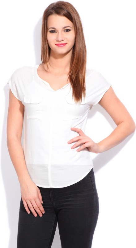 Cherokee Casual Short Sleeve Solid Women's White top