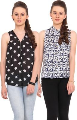 Nvl Casual Sleeveless Printed Women's Blue, White, White, Black Top