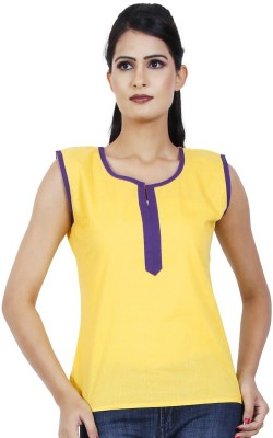Ambitione Women,s, Girl's Solid Casual Yellow Shirt
