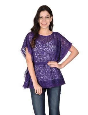 Latin Quarters Casual Butterfly Sleeve Self Design Women's Purple Top