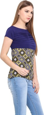 Desi Urban Casual Sleeveless Self Design Women's Dark Blue Top