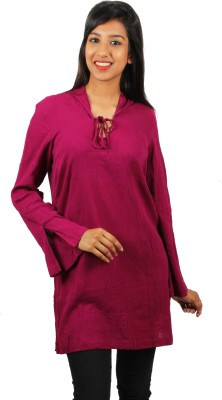 Old Khaki Casual Full Sleeve Solid Women's Maroon Top
