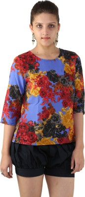 Unicolr Casual 3/4 Sleeve Floral Print Women's Red Top