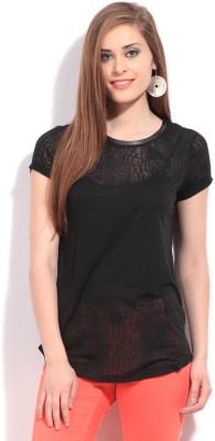 Debenhams Casual Short Sleeve Self Design Women's Black Top at flipkart