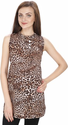 Svt Ada Collections Party Sleeveless Printed Women's Brown Top