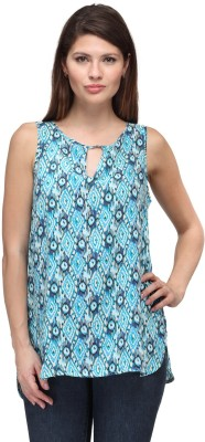 FW Collection Casual Sleeveless Printed Women's Blue Top at flipkart