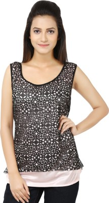 Whistle Casual Sleeveless Solid Women's Black, White Top