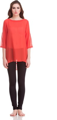 Private Lives Casual 3/4 Sleeve Solid Women's Orange Top