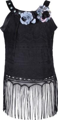 Cutecumber Party Sleeveless Embellished Girl's Black Top