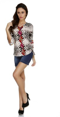 109F Casual 3/4 Sleeve Printed Women's Multicolor Top