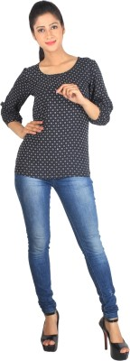 Su&Jay Casual 3/4 Sleeve Printed Women,s Black Top