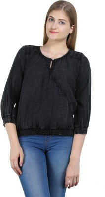 Bainy Casual 3/4 Sleeve Solid Women,s Black Top