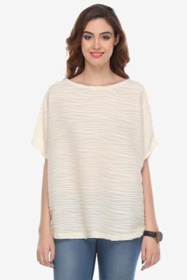 Varanga Party Kimono Sleeve Solid Women's White Top