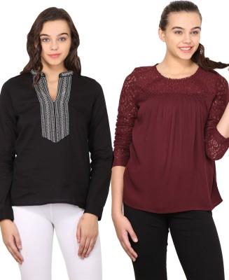 Nordic Bazaar Casual Full Sleeve Solid Women's Black, Maroon Top