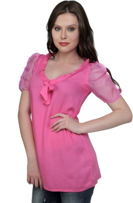 Cottinfab Casual Short Sleeve Solid Women's Pink Top at flipkart