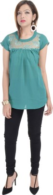 Fantasy Ika Casual Short Sleeve Solid Women's Green Top