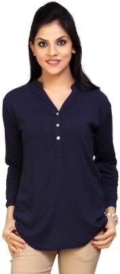 Carrel Casual 3/4 Sleeve Solid Women's Dark Blue Top