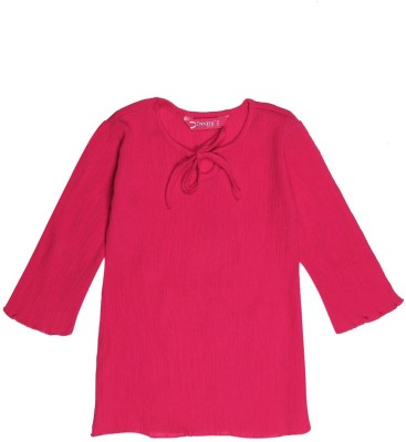 Dreamszone Casual Full Sleeve Solid Girl,s Pink Top