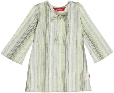 Dreamszone Casual Full Sleeve Striped Girl's Green, Black Top