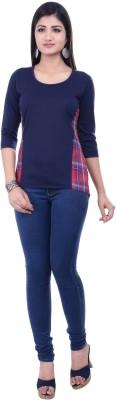 Rene Casual 3/4 Sleeve Solid Women's Dark Blue Top