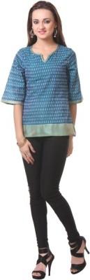 Oghaindia Casual Short Sleeve Woven Women's Dark Blue Top