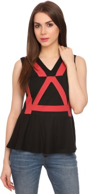 Legona Casual Sleeveless Solid Women's Black, Red Top