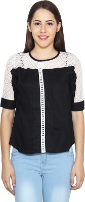 CJ15 Casual 3/4 Sleeve Solid Women's Black Top