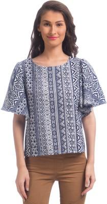 Uptownie Lite Party Short Sleeve Printed Women's Blue Top at flipkart
