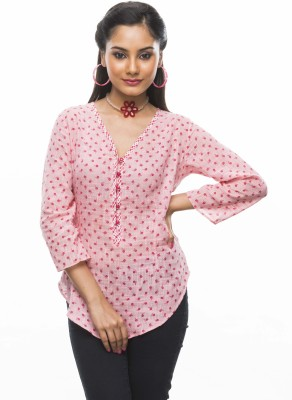 Moda Vastra Casual 3/4 Sleeve Floral Print Women's Pink Top