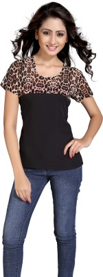 Eighteen4ever Casual Short Sleeve Animal Print Women's Black Top