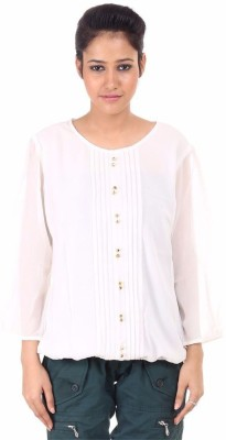 Fashion Planet Casual Full Sleeve Solid Women's White Top