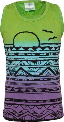 Joshua Tree Casual Sleeveless Printed Girl's Green Top