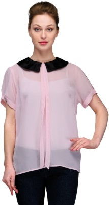 Kami Party Short Sleeve Solid Women's Pink Top