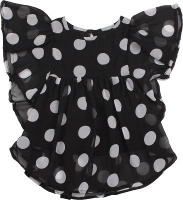 Soul Fairy Party Sleeveless Polka Print Baby Girl's Black Top